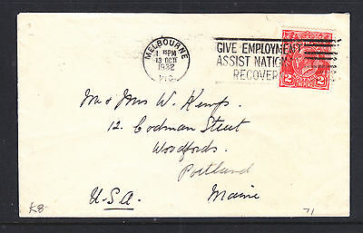 1923  KGV  2d  RED COVER FROM  MELBOURNE  TO  PORTLAND USA