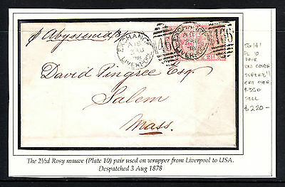 GB 1878 QV 2 1/2d ROSY MAUVE PLATE 10 PAIR ON COVER LIVERPOOL TO USA
