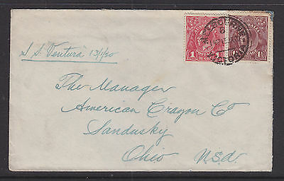 1920 KGV 1d RED AND 1 1/2d BROWN ON COVER TO OHIO USA,  NICE SHADE ON THE RED.