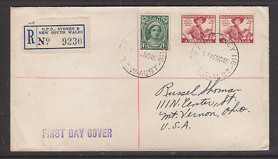 1948  2 1/2d PAN PACIFIC SCOUTS  REGISTERED   FDC  TO  OHIO  USA