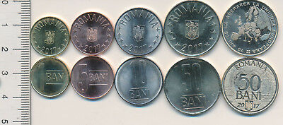 ROMANIA Lot coins 1 ban 5 bani 10 50 BANI 2017 UNC coin ROMANIAN EU integration