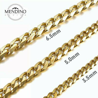 MENDINO Men's 316L Stainless Steel Necklace Curb Chain Gold Tone 3.5mm 5mm 6.5mm
