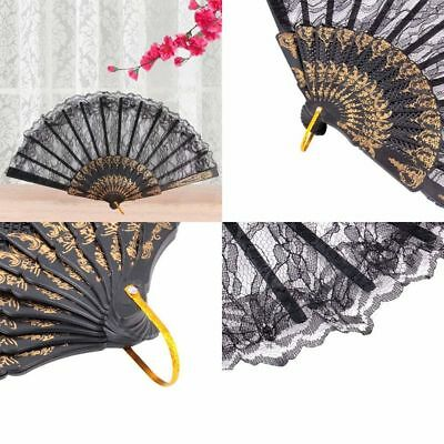 Bar Dancing Costume Party Chinese Vintage Folding Lace Hand Fan Fancy Dress