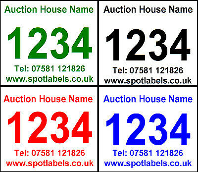 Auction Number Lot Labels Stickers on ROLL sequential Personalised Non Residue