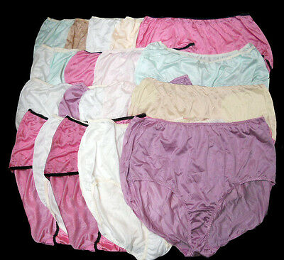 20 pairs UNISEX NAME BRAND 100% NYLON full size BRIEF PANTY Size - 12 Mix Colors