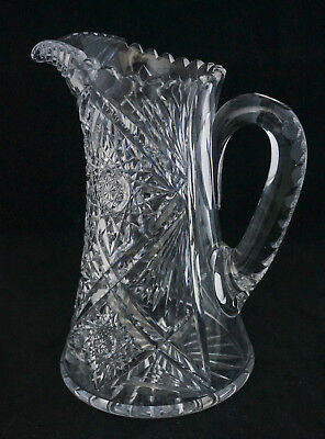Gorgeous Antique ABP American Brilliant Cut Glass Star and Big Four Huge Pitcher