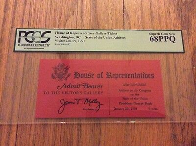 1991 President George Bush State of the Union Address to Congress Ticket PCGS 68
