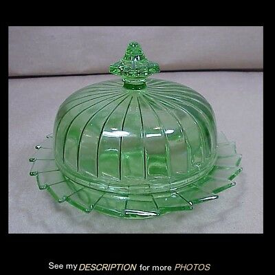 1930s Jeannete Green Depression Glass Covered Butter Dish Sierra Pattern