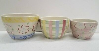 Longaberger Pottery Easter Nested Bowls SET OF 3 Pastel Stoneware Pottery NIB