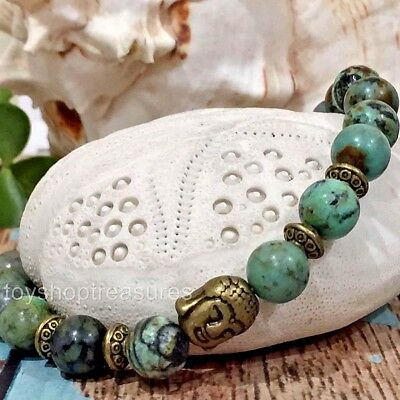 New Natural African Turquoise Gemstone Bracelet Buddha Bead - Stretch Fit Bronze