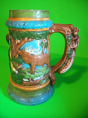 "DEER SCENE w/ MAN 9.5"" BEER STEIN COLLECTORS MUG w/ FOX ANIMAL CHARACTER HANDLE"