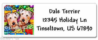 Airedale Terrier Christmas Open Gifts Address Labels set of 60 WATERPROOF
