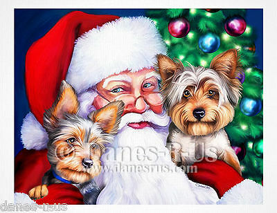 Yorkshire Terrier Santas Yorkies at Christmas Greeting Note Cards Set of 10
