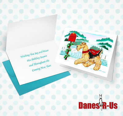 Airedale Terrier Holiday Mail Dog Art Christmas Greeting Note Cards Set of 10