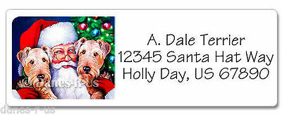 Airedale Terrier Santa's Dales Christmas Dog Address Labels set of 60 WATERPROOF