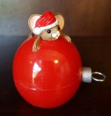 Hallmark Merry Miniature 1986 Mouse on Red Ornament- Christmas