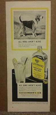 1941 Fleischmanns Distilled Dry Gin Dog Ad