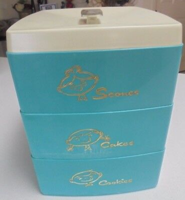 Vintage Nylex Green / teal colour 3 tier Canister Cookies, Cakes and scones