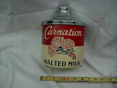 VTG c.1940 SODA FOUNTAIN CARNATION MALTED MILK JAR CONTAINER CANISTER with LID