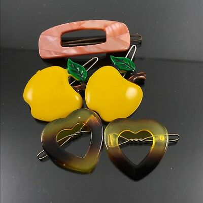 5 Vintage Plastic Lucite Hair Clip Barrette Yellow Apples Tortoise Shell Hearts