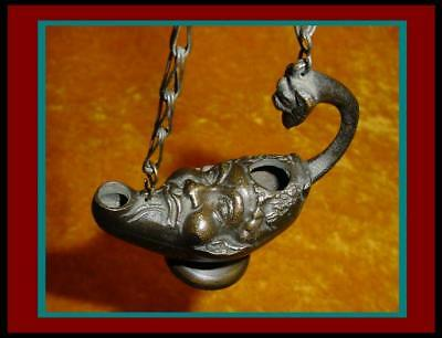 ANTIQUE BRONZE ROMAN POMPEII / GREEK STYLE HANGING OIL LAMP ~ with Face of Pan