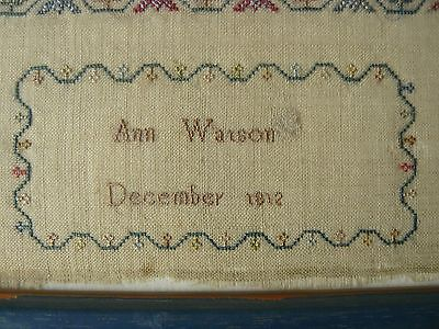 1812 Wool Needlepoint Sampler by Ann Watson Aged 13 ~ Restored