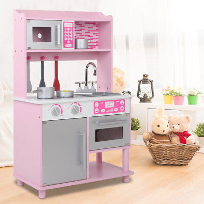 Childrens Wooden Kitchen Playset W/ Stove, Oven & Stainless Steel Sink Pink