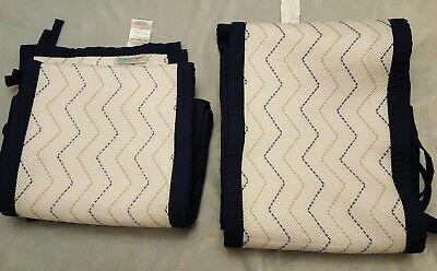 Breathable Baby Mesh Crib Liner Bumper Pad Navy Blue White Gray