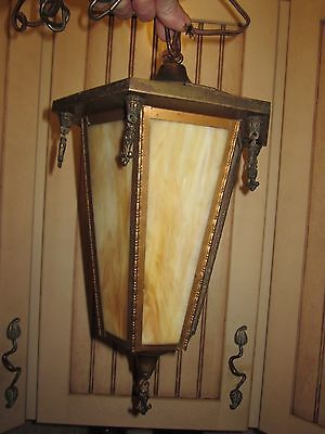antique brass & slag glass hall / porch light fixture arts & crafts