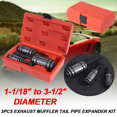 """3PC Tail Pipe Expander Muffler 1-1/8"""" To 3-1/2"""" Exhaust Tailpipe Tube W/Red Case"""