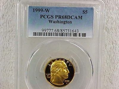 1999 w $5 gold Wahington commemorative PCGS PR68DCAM toning