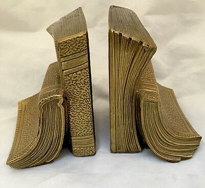 Pair of Vintage Brass Heavy Book Design Bookends by PM Craftsman Eaton Park FL