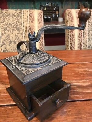 Antique Victorian COFFEE GRINDER Ornate Cast iron with Handle Dove Tail Wood Box