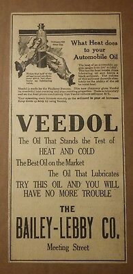 1919 Veedol Oil Ad What heat does to your Automobile oil