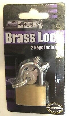 25MM Solid Brass Mini Security Luggage Padlock w/ 2 Small Keys. Sterling Quality