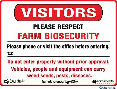 Visitors Farm Biosecurity Safety Sign - Various Sizes Sign And Sticker Options