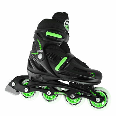 Kids 4 Size Adjustable Inline Blades - Crazy Skates Model 148 Black Boys Girls