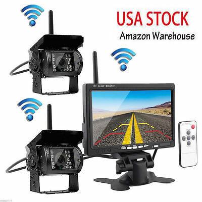 "2 X Wireless Rear View Backup Camera LED Night Vision+7""Monitor For RV Truck Bus"