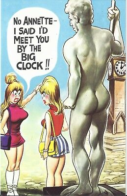 Vintage 1970's Bamforth COMIC Postcard (as new condition) Big Clock ANNETTE #271