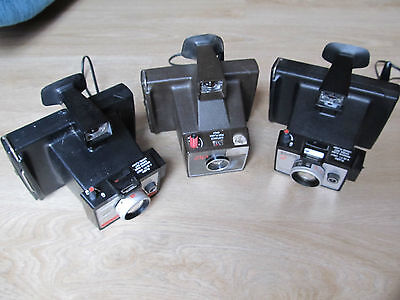 3 Vintage 1970s Instant Polaroid cameras, Square shooter 2, colorpack 80 & Zip
