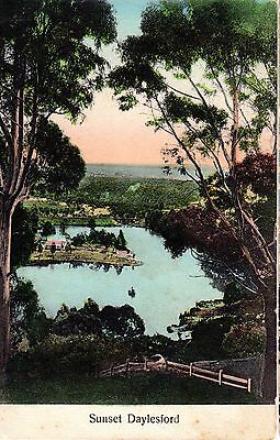 Lovely Vintage Postcard - Sunset Daylesford Victoria showing Lake - used