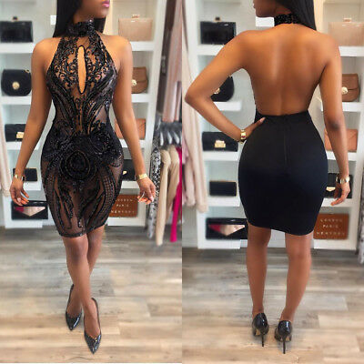 Sexy Women Sequins halter backless bodycon  Party Club Cocktail evening Dress