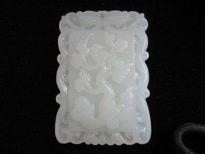 old chinese Rare Collect  jade carving pendant:bird flower