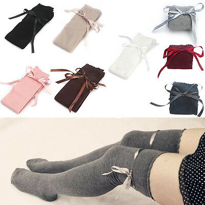 Women Girl Sexy Cotton Long Socks Thigh High Hosiery Stockings Over The Knee