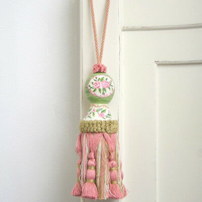 Shabby Chic French Provincial Hand Painted Country Pink & Green Rose's Tassel