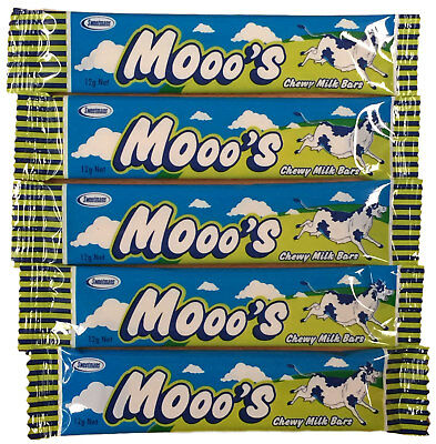5 x SWEETMANS MOOO'S CHEWY MILK BAR SOFT CANDY LOLLIES