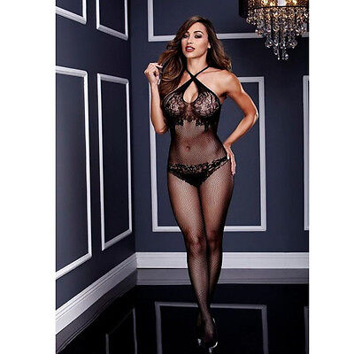 Catsuit nera aperta in microrete Tg Unica CROSSED LACES biancheria intima sexy