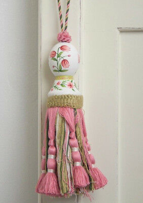French Provincial Shabby Hand Painted Pink Flower Curtain Door Decorator Tassel