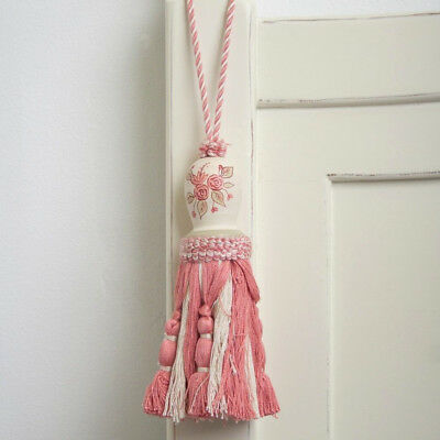 French Provincial Shabby Hand Painted Pink Rose's Curtain Door Tassel Tassle