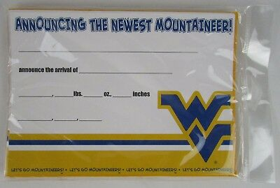Pack Of 10 West Virginia Mountaineers Birth Announcements By Fanatic Cards